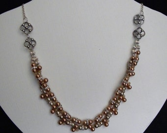 Tan Champagne Pearl Crystal Beaded Necklace, Art Deco Multi strand Necklace, Bridesmaid Bridal Wedding Necklace- CAMERON