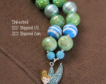 SALE 25% off! Tinkerbell Chunky Bubblegum Necklace RTS