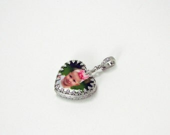 Heart pendant, Photo Pendant, Valentines Day Jewelry, Personalized Keepsake - WP12Pf