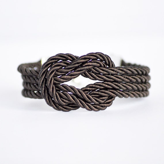 Dark brown forever knot nautical rope bracelet with silver anchor charm