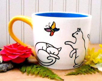 Extra Large Kitty Cat Mug - HandMade Wheel Thrown 22+ oz Cat Love, Red Hearts, BlueBird of Happiness Handled Soup Bowl, Latte Coffee Tea Cup