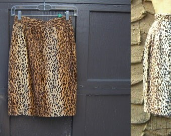 "S 25"" waist 1980's Dead Stock Faux Fur Leopard Pencil Skirt Warm Brown Size Sm Small Back Thennish Vintage"
