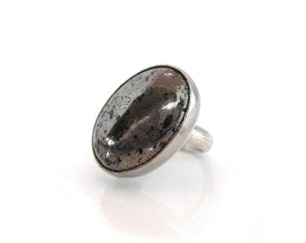 Pyrite Ring, Semi-precious gemstone, Handmade with Palladium and Sterling Silver Gemstone, Oval off-set custom ring