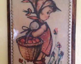 Hummel Apple Basket Girl Decoupage Wooden Plaque