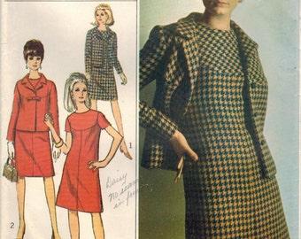 1960s Simplicity 7264 Vintage Sewing Pattern Misses Designer A-line Dress, Jacket Size 12 Bust 32