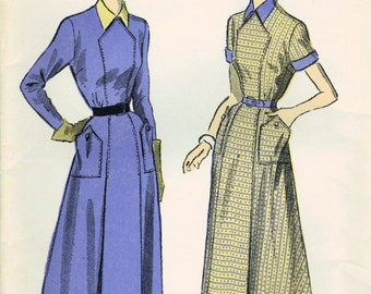 1940s Advance 5226 FF Vintage Sewing Pattern Misses Tea Length Dress Size 16 Bust 34