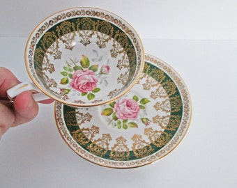 Royal Stafford Tea Cup and Saucer 2398E  Emerald Green w Gold Gilt Filigree Detailing Pink Rose Flower, Bone China Set Made in England