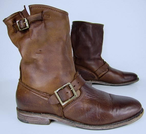 vintage shoe company brown leather motorcycle boots harness
