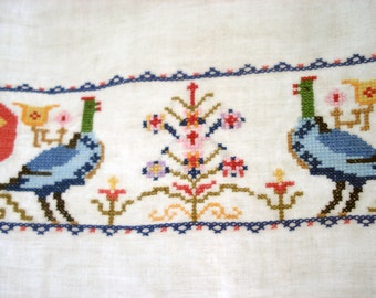 Beautifully cross stitched tea towel
