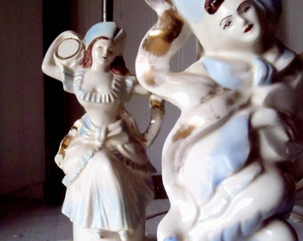 Vintage Pair Hand Painted Gold Leaf Porcelain Male Female Figurine Table Lamps