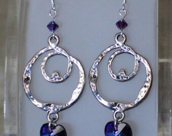 Silver Swirl Crystal Heart Beaded Dangle Earrings