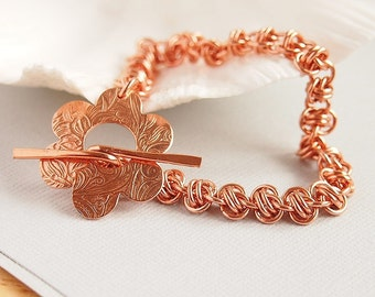 Chain Maille Bracelet, Copper, Chain Weave, Floral Toggle - DAMASK