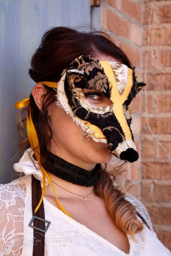 Helga - OOAK Badger Mask in Black and Yellow - Harry Potter House Series