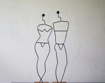 Danish Modern Wire Forms | Male and Female | Scandinavian Statuettes | Made in Denmark | Man and Woman | Modernist Art | Wire Mannequins