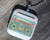 Fused Glass Pendant - Boombox - teal