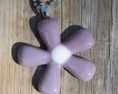 Fused Glass Pendant - Groovy Flower - purple