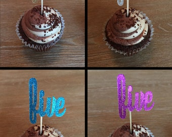 12 Five Birthday Cupcake Toppers Five Cupcake Toppers Donut Toppers Party Picks Five Year Old Cupcake Toppers