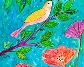Original Painting, Bird and Flower Painting
