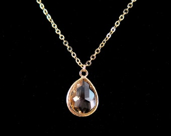 Peach Teardrop Faceted Glass Crystal Pendant Gold Chain Necklace - Perfect to layer!