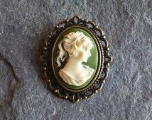 Small irish cameo brooch, green and ivory brooch, antique brass brooch, lapel brooch