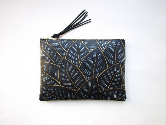 Gold and Silver Leaf Pattern Leather Zipper Clutch