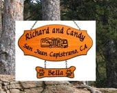 Custom Carved Redwood Camping Sign - Motorhome w/ dogbone with pawprints - Family Name Sign
