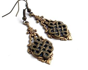 Celtic Bronze Dangle Earrings Jewelry