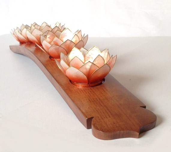 Lotus candleholder recycled oak wine barrel stave 5 capiz - Capiz shell tealight holder ...