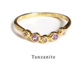 Anniversary ring with Tanzanite (K14 December birthstone)