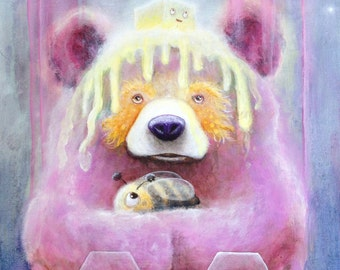 Bear Print - Animal Art - Pop Art - Pop Surrealism - Bee - Bear - Nature - Painting - Fine Art Print - Surreal