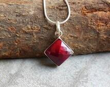 Ruby pendant - sterling silver pendant - Bezel pendant - Gemstone Pendant - July Birthstone pendant - Gift for her