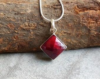 Ruby pendant - Red pendant - Bezel pendant - Gemstone Pendant - July Birthstone pendant - Gift for her