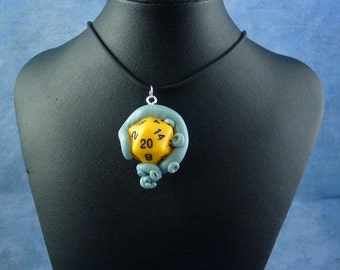 Light Blue and Yellow Sanity Check Necklace - Tentacle Wrapped D20 Pendant