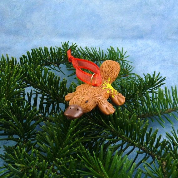 Xmas Platypus Ornament with Starburst Tush, Handmade Christmas Decoration