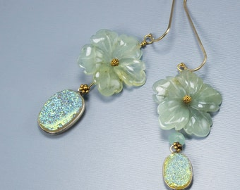 Beaded earrings. Mismatched earring. Carved jade and druzy jewelry in pale green - Jade Flower