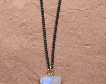 Triangle Moonstone Pendant Necklace