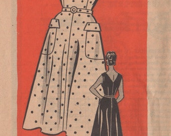 1950s Anne Adams 4661 Half Size Sleeveless Sundress Pattern V Neck Front Back Gored Skirt  Womens Vintage Sewing Pattern Size 14 1/2 Bust 34