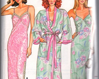 Butterick 3713 1980s Misses Evening Length Nightgown and Wrap Robe Pattern Womens Vintage Sewing Pattern Size P S M L Bust 30 - 40 UNCUT