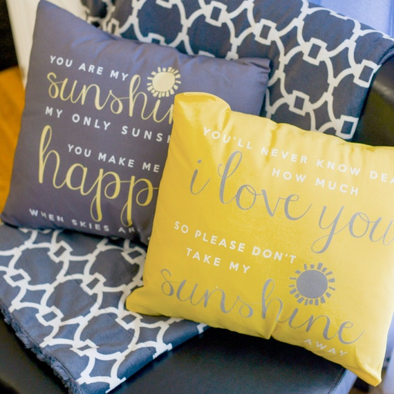 You are my sunshine throw pillow SET of TWO pillows by zoeysattic