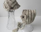 Newborn Twin Hats, Boy Girl Twins, Newborn Girl Baby Bonnet, Newborn Boy Hat, Newborn Photography, Photo Prop, Crochet Hat, Color: Oatmeal