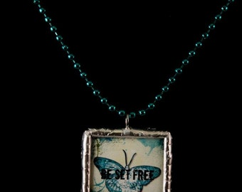 Be Set Free Double Sided Soldered Inspirational Butterfly Necklace - Free Shipping US -