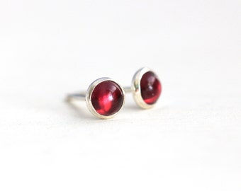 Tiny Garnet Stud Earrings - Sterling Silver and Garnet Post Earrings - 4mm