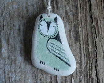 Large Beach Pottery Owl Necklace