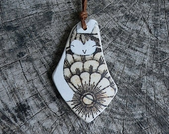 Beach Pottery Flower Owl Necklace