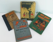 Lot of Four Vintage Children's Primers: 1927 The Box in the Sand, 1939 Bobbs-Merrill Readers Book 1, 1938 City Friends, 1917 Nixie Bunny