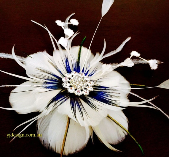 Something Blue Bridal Fascinator, Teal Peacock Weddings, Feather Headpiece, Flower Brooch, ART NIRVANI
