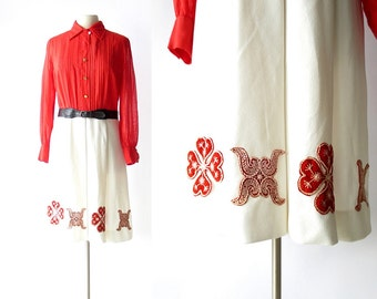 Vintage 1960s Dress / Red Mazurka Dress / 60s Dress / Folk Dress / Large L