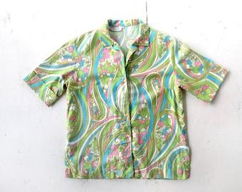 Vintage Paisley Shirt | 60s Blouse | Cotton Blouse | Medium M