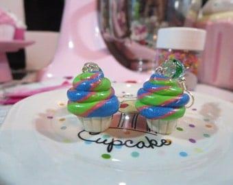 Lime Berry Swirl Cupcake Dangle Earrings