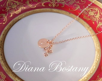 Rose Gold Baroque Cross Necklace,  Customized, Initial Charm, 14K Gold fill chain, Communion, Confirmation Gift